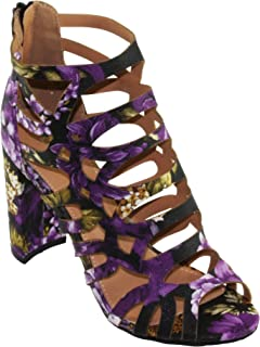 Women's Shirley-30F Floral Caged Cutout Ankle-High Round Block Heel Sandals