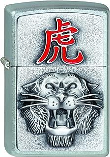 Zippo 打火机 2001676 Year of The Tiger虎年汽油打火机 黄铜 缎面铬 1 x 3.5 x 5.5厘米