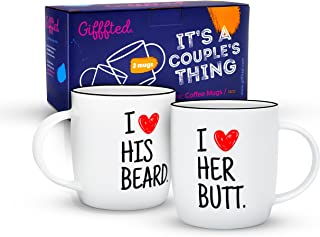Gifffted I Like His Beard Coffee Mugs For Couples, Funny Couple Gifts for Anniversary, Engagement and Christmas, Unique Gifts For The Girlfriend, His and Hers and For Bride and Groom Set of 2 Mugs