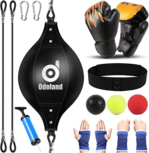wholesale Odoland Double End Punching Ball with Boxing Reflex Ball, online sale Punching Gloves and Palm Wrist Sleeves for Kids, popular Perfect for Home Gym Workout MMA Muay Thai Kids Boxing Sports outlet sale
