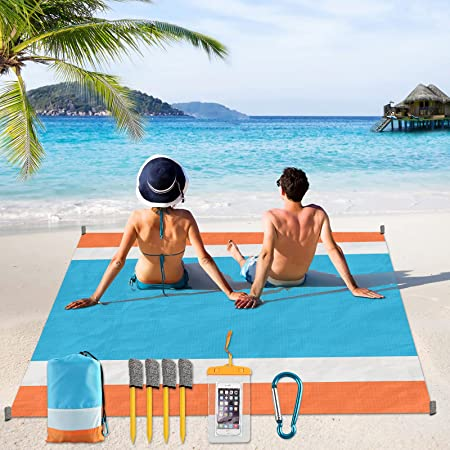 Sand Free Beach Blanket, Yirilan Waterproof Beach Cover 79''X 83''for Whole Family, Beach Mat with Cellphone Dry Bag Magic Anchor Lightweight for Picnicking Camping