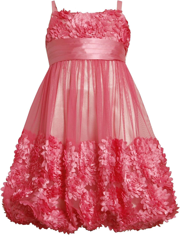 Bonnie Jean Tween Girls 7-16 Flutter Die-Cut Bonaz Border Mesh Bubble Dress