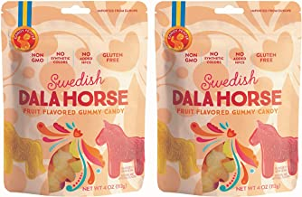 Candy People Swedish Dala Horse Fruit Flavored Gummy Candy - Citrus, Pineapple, Raspberry Fruit Flavors - Gluten and Gelat...