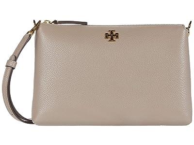 Tory Burch Kira Pebbled Wallet Crossbody (Gray Heron) Handbags