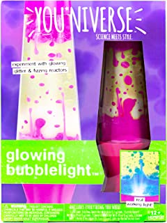 Youniverse Create Your Own Glowing Bubble Light by Horizon Group USA, Built in Light Lamp, DIY 7 Great Stem Science Experiments with Liquid Density, Assorted/Pink