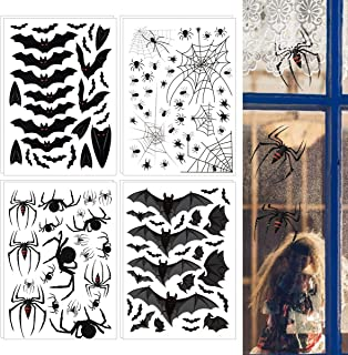 PAMASE 226 Pieces Black Bats Spiderwebs Window Clings Decals Stickers- Nonadhesive Self-Static Scary Spider Web Window Stickers for Holiday Halloween Party Haunted House Decorations Supplies Favors
