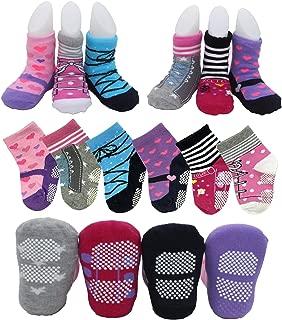 6 Pairs Non Skid Dress Socks Toddler Baby Girls Multicolored Pre Walking Socks Ankle Slippers Shoe Socks For 12-24 Months