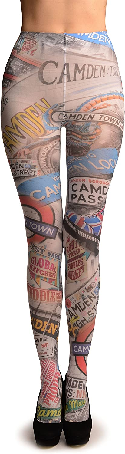 Camden Collage On White Printed Tights - Pantyhose (Tights)