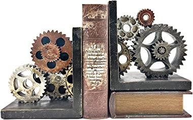 Bellaa 20881 Decorative Bookends Gear Industrial Art Decor Statues Book Shelves Stoppers Holder Nonskid Shelf Heavy Ends Supp