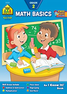 School Zone - Math Basics 2 Workbook - 32 Pages, Ages 7 to 8, Grade 2, Addition, Subtraction, Multiplication, Place Value,...