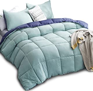 KASENTEX All All Season Down Down Alternative Quilted Comforter Set Reversible Ultra Soft Duvet Insert Hypoallergenic Machine Washable, King, Turquoise Sea Green/Twilight Blue