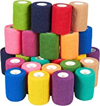 24-Pack Self Adhesive Bandage Wrap, Cohesive Tape in 12 Colors (3 in x 5 Yards)