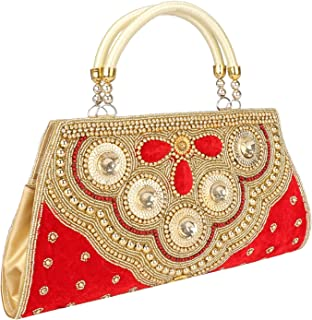 Gold Beaded Evening Bag, Bridal Clutch Wallet,Indian Bead Purse for women & Girls