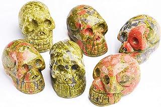 JIC Gem Unakite Carving Skull Stone Pocket Statue Figurine Decor Natural Healing Crystal Pack of 6