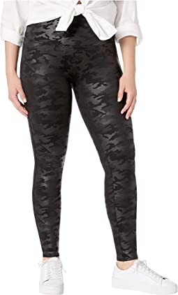 Plus Size Faux Leather Camo Leggings