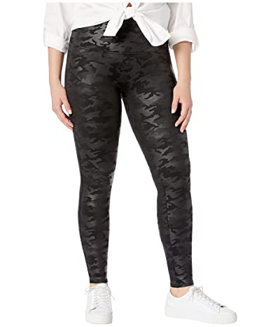 Spanx Plus Size Faux Leather Camo Leggings (Matte Black Camo) Women