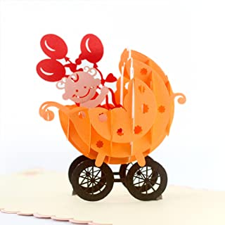CutePopup Baby Shower 3D Greeting Popup Card (Baby Stroller Orange) Intricate Design Handmade Paper Art Perfect Idea for New Born Baby Boy Son Grandson Congratulations