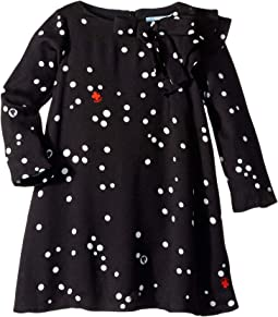 Long Sleeve Polka Dot Dress with Ruffle Detail (Toddler/Little Kids)