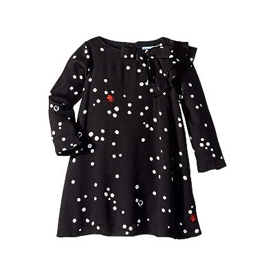 Lanvin Kids Long Sleeve Polka Dot Dress with Ruffle Detail (Toddler/Little Kids) (Black) Girl