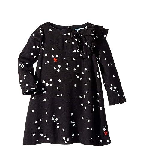 Lanvin Kids Long Sleeve Polka Dot Dress with Ruffle Detail (Toddler/Little Kids)