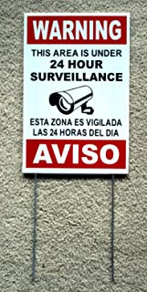 Peter Select Security Video Surveillance Warning 24 Hr Sign 8x12 Spanish English w/Stake Funny Retro Vintage Business Nostalgic Signs