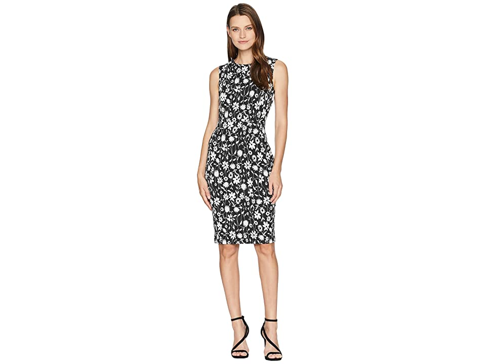 Calvin Klein Floral Print Sheath Dress CD8CPA00 (Black/Cream) Women