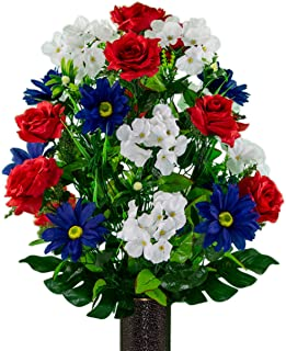 Sympathy Silks Artificial Cemetery Flowers – Realistic Vibrant Daisies, Outdoor Grave Decorations - Non-Bleed Colors, and Easy Fit - Red White Blue Rose Daisy Bouquet with Flower Holder
