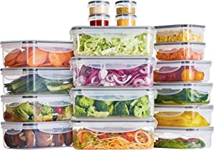 Syntus Food Storage Containers Set, 18 Pack 12.8L Large Storage Plastic Airtight Food Container with 18 Lids for Kitchen & Pantry Organization