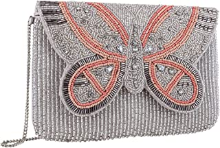 SIX Damen Handtasche, Clutch aus beigem Stoff mit Klappverschluss in Schmetterlingform aus Perlen in rosa, grau und beige ...