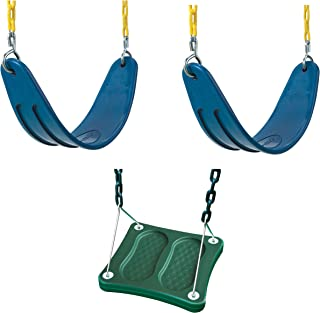 Swing-N-Slide WS 5111 Two Extreme Duty Blue Swing Seats with a Stand-Up Swing Swing Set Refresher Bundle, Blue