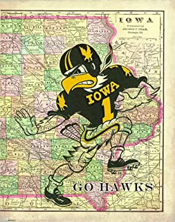 Apple Creek Iowa Map Hawkeyes Football Motivational Poster Art Print 11x14 Nile Kinnick Stadium Herky