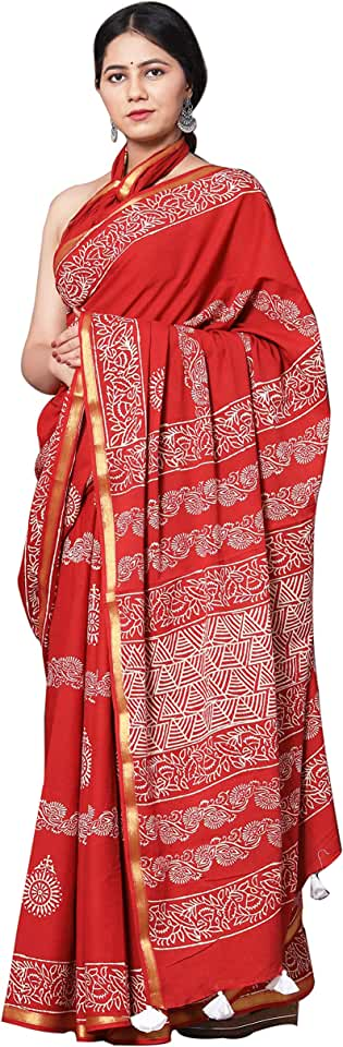 Indian The Handblock Prints Women's Woven Cotton Saree With Blouse Piece (PureHandloom-A12_White, Red) Saree