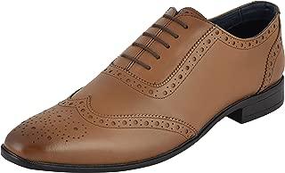 Auserio Men's Tan Genuine Leather Brogue Shoes