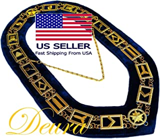 DEURA Masonic Collar Freemason Blue Lodge Master Mason Gold Plated // Blue Velvet Backing DMR-400GB
