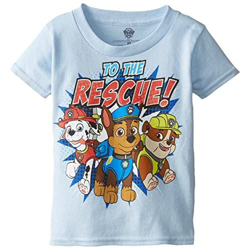 Paw Patrol Little Boys Toddler Short Sleeve T Shirt Light Blue 5T