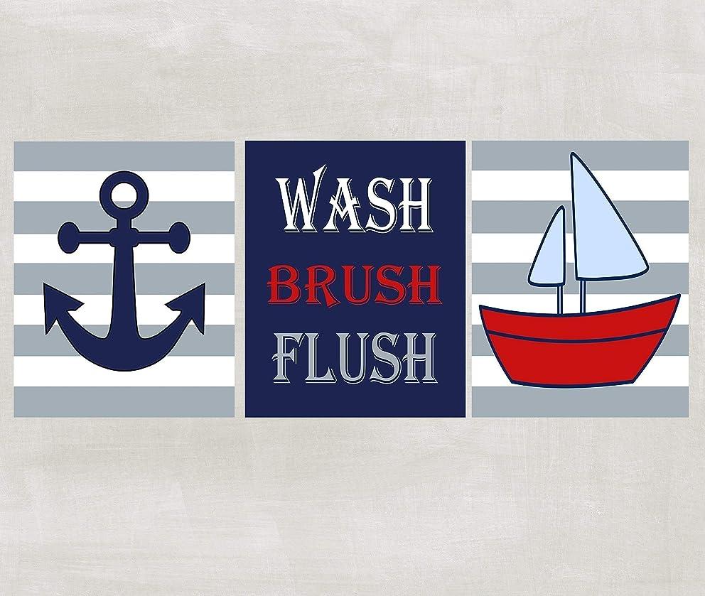 Wash Brush Flush Nautical Prints - Bathroom Wall Art - Red White Blue Set of 3 Prints ((Unframed))