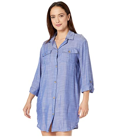 DOTTI Travel Muse Shirtdress Cover-Up (Blue) Women