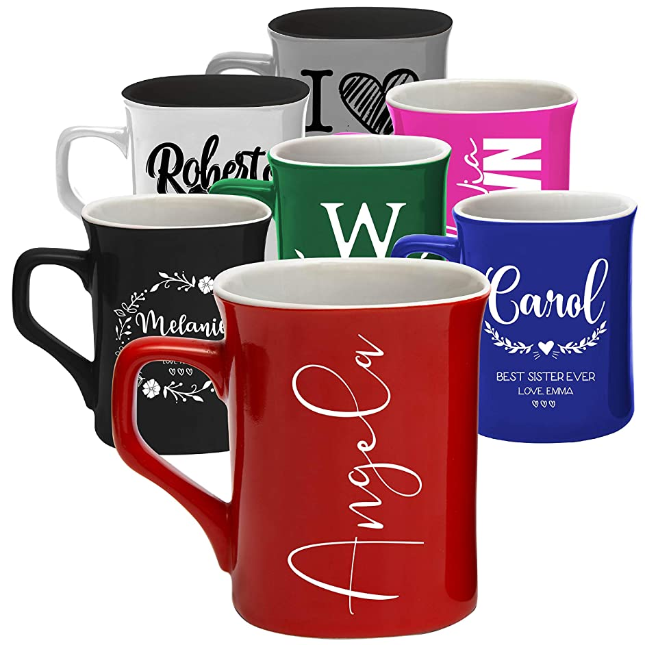Personalized Coffee Mugs, 11 oz. & 16 oz. | 8 Design - 2 Size - 7 Color | Personalized Gifts Ceramic Mug, Gift for Housewarming Party