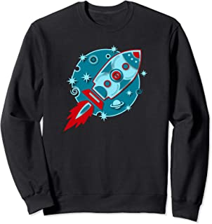 Retro rocket planet stars galaxy cosmos moon outer space Sweatshirt