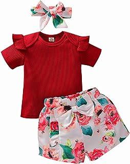 Baby Girls Summer Shorts Set Ruffle Solid Color Short Sleeve Top T-Shirt Floral Shorts Headband Clothes Set