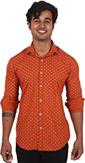 Classic Cotton Printed Full Sleeve Casual Shirts for Men (Orange)