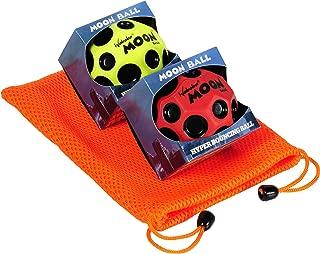 Waboba Moon Balls Bundle of 2, 1 Red & 1 Yellow, with Bonus Orange Mesh Drawstring Pouch || Bundled Items