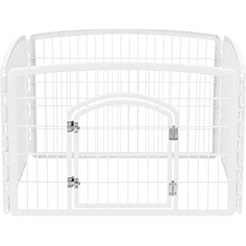 "IRIS USA 4-Panel Pet Playpen with Door, size 35.25""L x 35.25""W x 24""H CI-604, White"