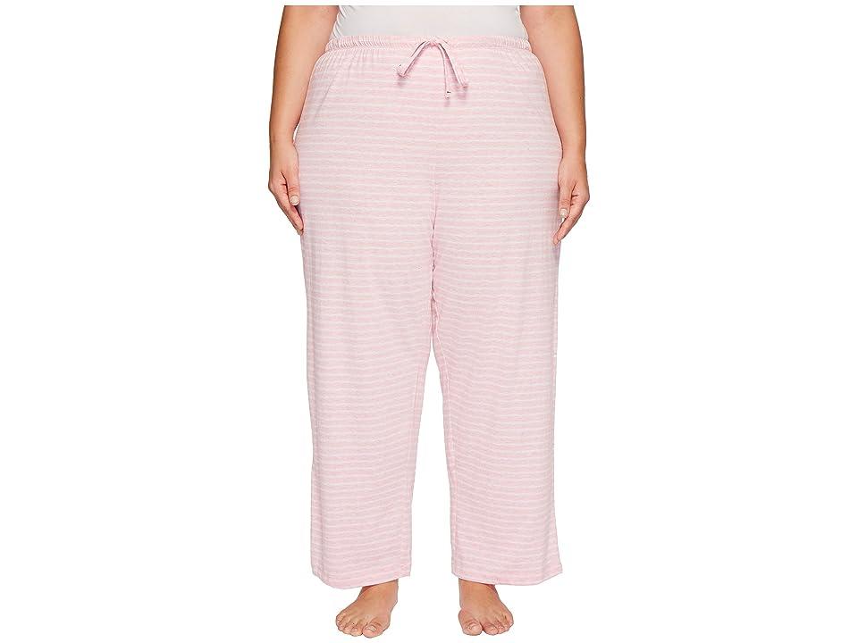 Nautica Plus Size Striped Pants (Heather Pink Stripe) Women