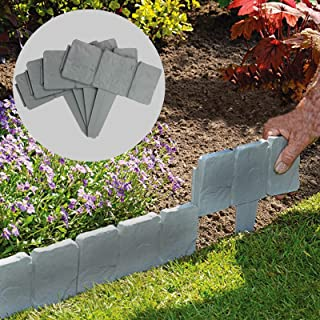 5 Meter Grey Stone Effect Lawn Edging | Plant Bordering | Hammer In Cobblestone Garden Border | Flower Bed & Grass | 20 Pieces (5m) M&W