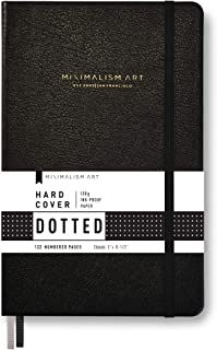 Minimalism Art, Classic Notebook Journal, A5 Size 5 X 8.3 inches, Black, Dotted Grid Page, 192 Pages, Hard Cover, Fine PU ...