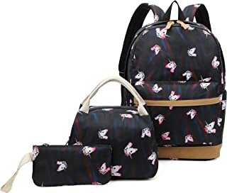 Ulgoo Girls School Bags Kids Bookbags Teens Bookbag Set Kids Laptop Backpack Lunch Box Purse (Rainbow Black)