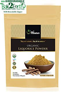 mi nature USDA Certified Organic Licorice Powder (Glycyrrhiza glabra/Liquorice/Mulethi) – 227g (8 Oz), Herbal Supplement for Immunity Support, Eco Friendly Pack