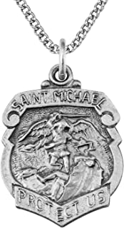 TrueFaithJewelry Sterling Silver Saint Michael The Archangel Shield Medal Pendant, 5/8 Inch