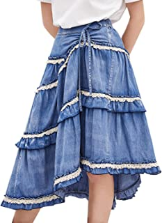 Artka Women's High Waist Pleated Layered Petite Midi Denim Skirt with Asymmetric Hem
